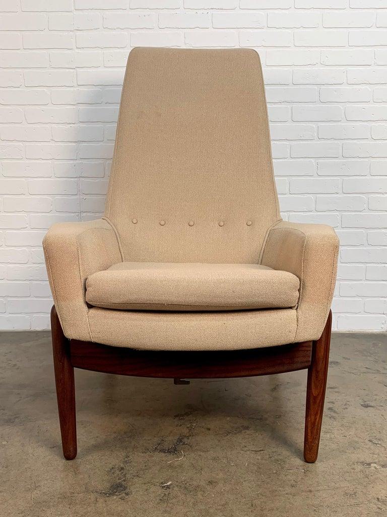 I.B. Kofod-Larsen High Back Lounge Chair Model PD30 with Ottoman, circa 1960 For Sale 1