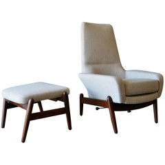I.B. Kofod-Larsen High Back Lounge Chair Model PD30 with Ottoman, circa 1960