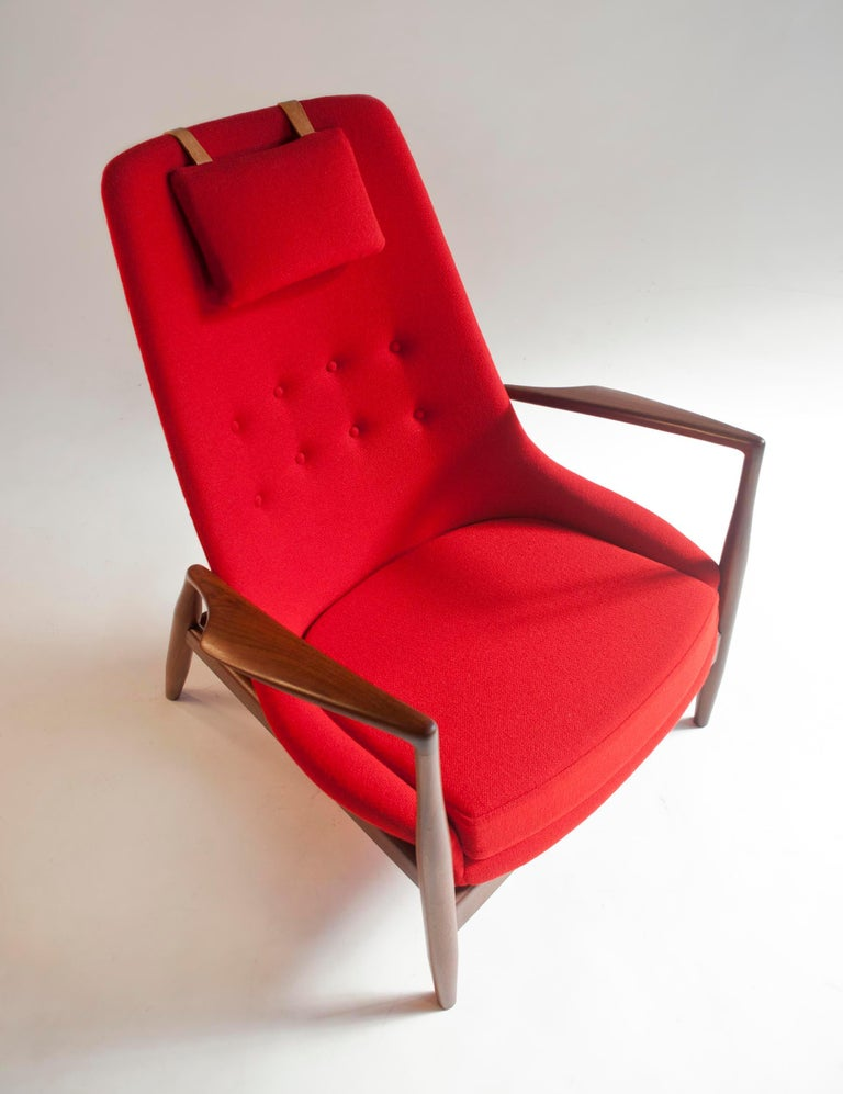 Ib Kofod-Larsen High Back Seal Chair in Afrormosia Teak for OPE, Sweden, 1960s For Sale 3