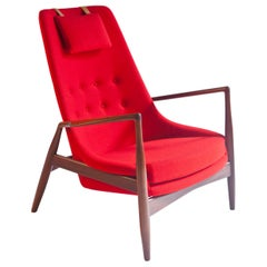Ib Kofod-Larsen High Back Seal Chair in Afrormosia Teak for OPE, Sweden, 1960s