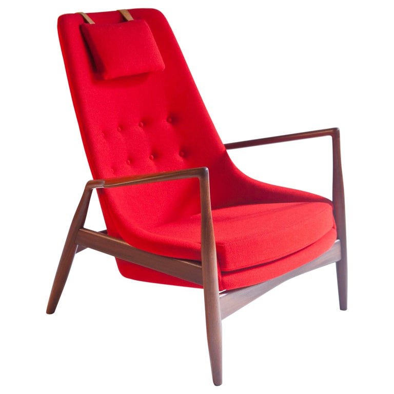 Ib Kofod-Larsen High Back Seal Chair in Afrormosia Teak for OPE, Sweden, 1960s For Sale