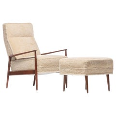 Ib Kofod-Larsen Highback Blade Arm Lounge Chair & Ottoman in Oatmeal Shearling