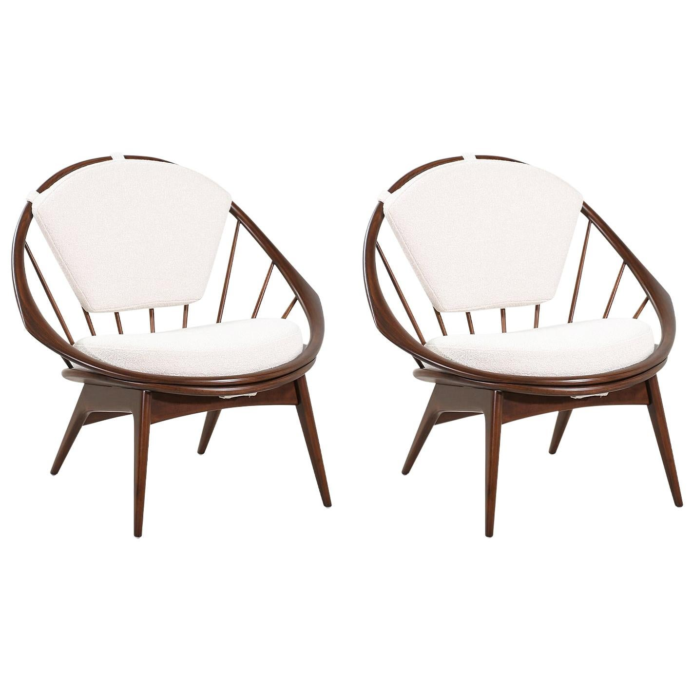 "Ib Kofod-Larsen ""Hoop"" Lounge Chairs for Selig"