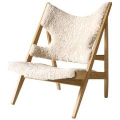 Ib Kofod-Larsen Knitting Lounge Chair, Natural Oak with Sheepskin, White