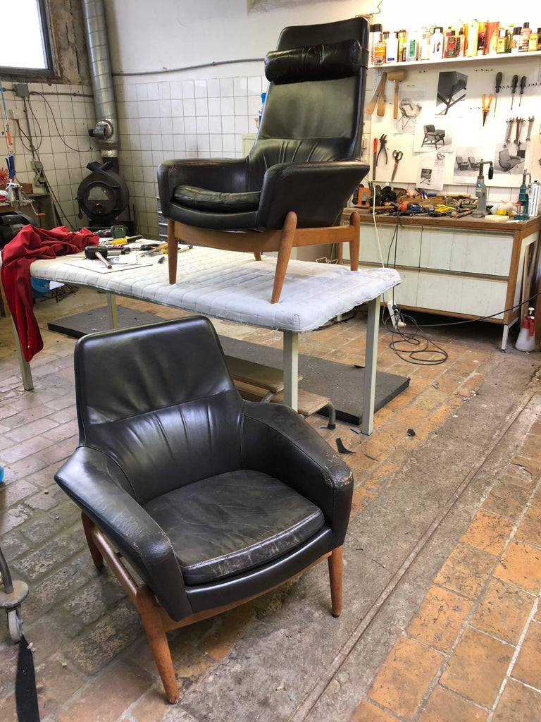 Lady & Senior Chair by Madsen & Schubel Bovenkamp Wool Hallingdal Nana Ditzel  For Sale 3