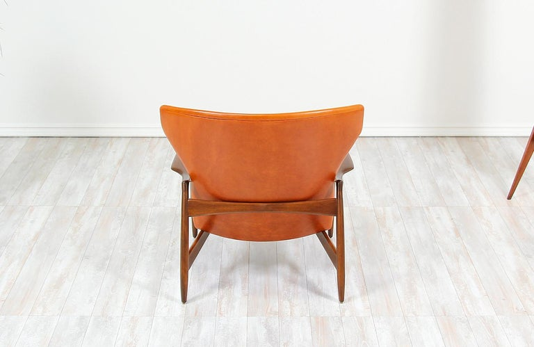 Ib Kofod-Larsen Leather Wing Back Lounge Chairs for Selig For Sale 4