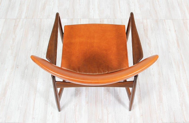 Ib Kofod-Larsen Leather Wing Back Lounge Chairs for Selig For Sale 5