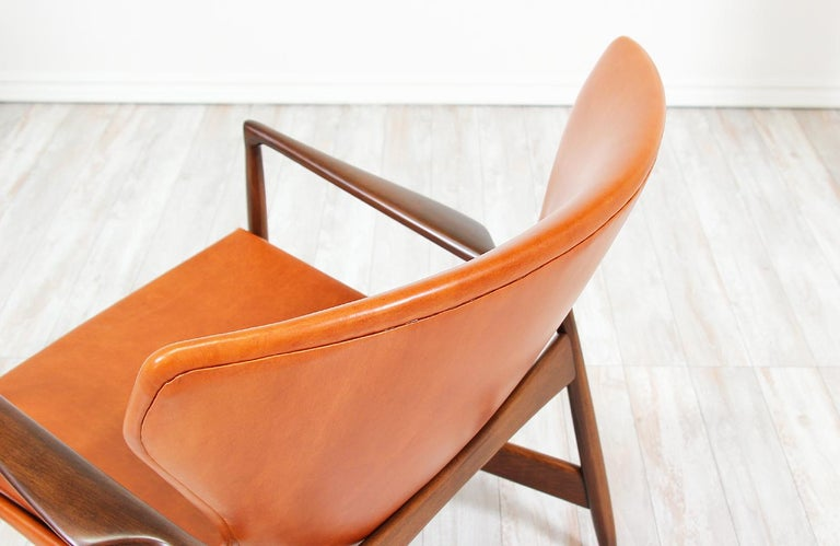 Ib Kofod-Larsen Leather Wing Back Lounge Chairs for Selig For Sale 6