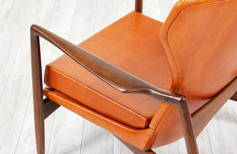 Ib Kofod-Larsen Leather Wing Back Lounge Chairs for Selig For Sale 7