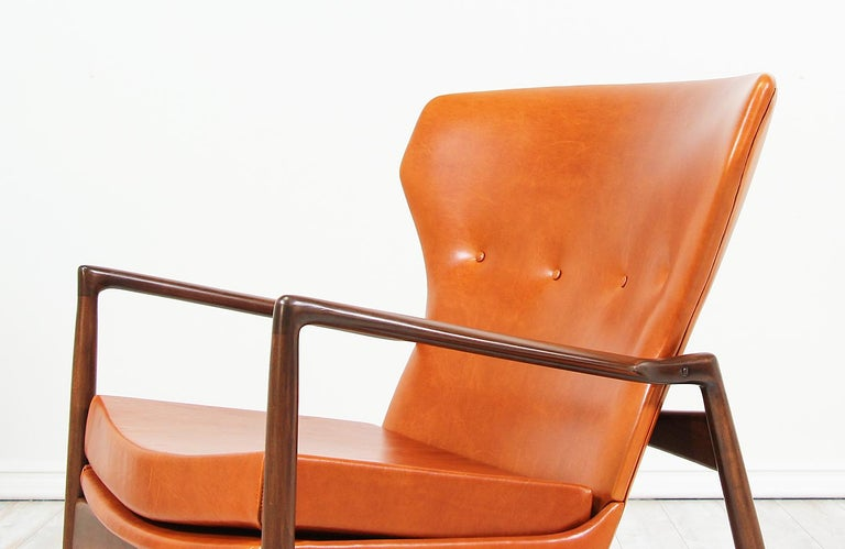 Ib Kofod-Larsen Leather Wing Back Lounge Chairs for Selig For Sale 10