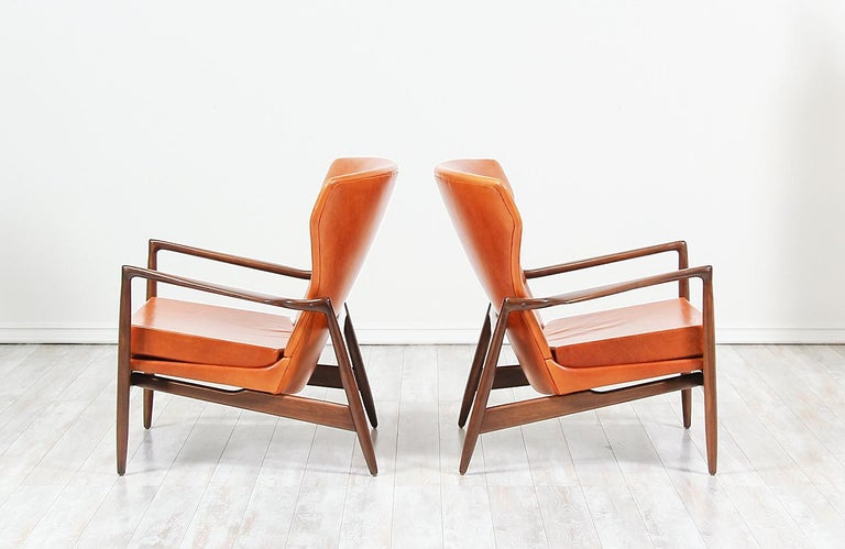 Mid-Century Modern Ib Kofod-Larsen Leather Wing Back Lounge Chairs for Selig For Sale