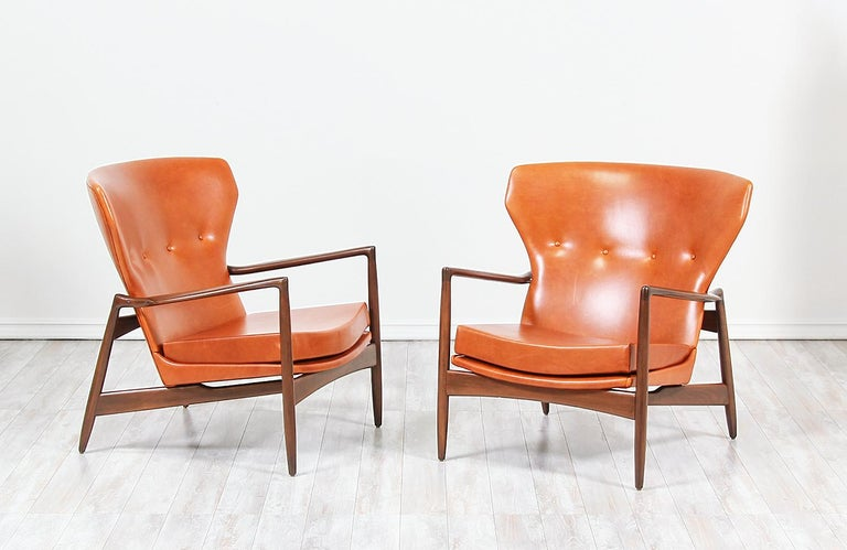 Danish Ib Kofod-Larsen Leather Wing Back Lounge Chairs for Selig For Sale