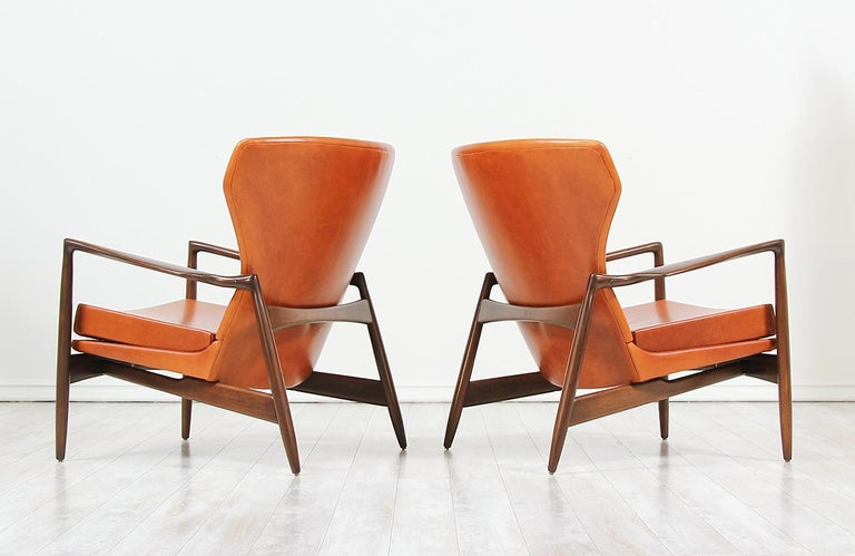 Mid-20th Century Ib Kofod-Larsen Leather Wing Back Lounge Chairs for Selig For Sale