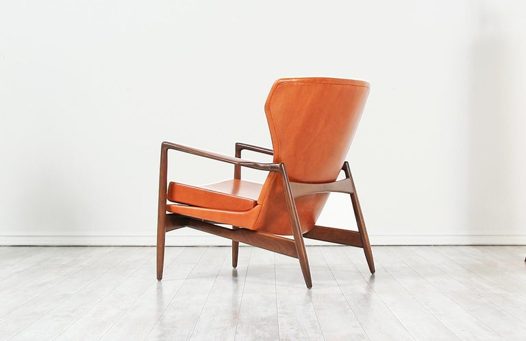 Ib Kofod-Larsen Leather Wing Back Lounge Chairs for Selig For Sale 1