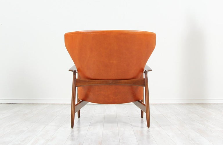 Ib Kofod-Larsen Leather Wing Back Lounge Chairs for Selig For Sale 2