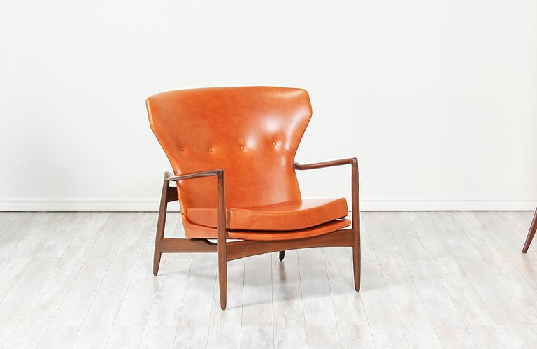 Ib Kofod-Larsen Leather Wing Back Lounge Chairs for Selig For Sale 3