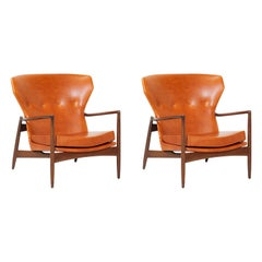 Ib Kofod-Larsen Leather Wing Back Lounge Chairs for Selig