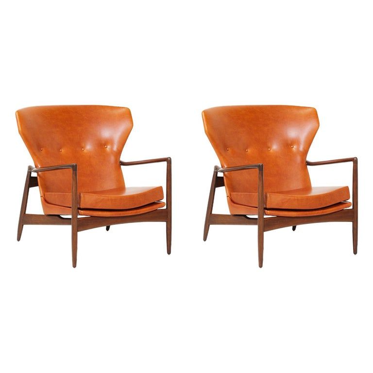 Ib Kofod-Larsen Leather Wing Back Lounge Chairs for Selig For Sale