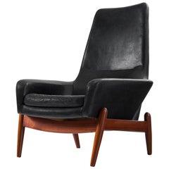 Ib Kofod-Larsen Lounge Chair Model 'PD30' in Teak and Leather