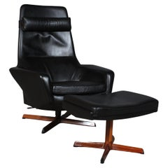 Ib Kofod-Larsen Lounge Chair with Ottoman