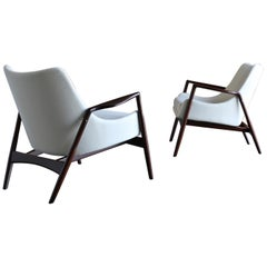 Ib Kofod-Larsen Lounge Chairs for Selig, circa 1955