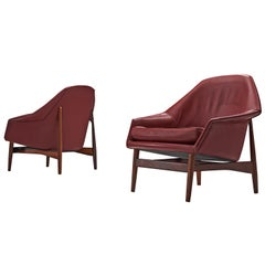Ib Kofod-Larsen Lounge Chairs in Rosewood and Burgundy Leather