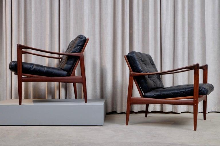 Swedish Ib Kofod-Larsen Pair of Easy Chairs Model Kandidaten, 1960s