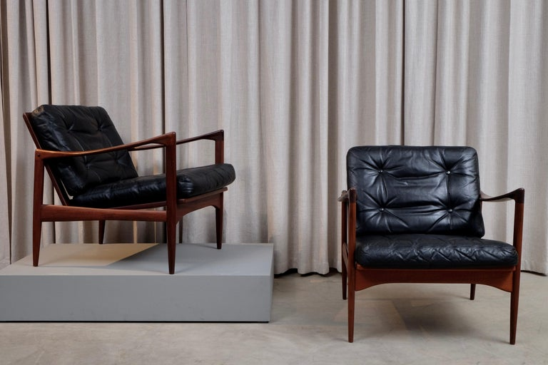 Mid-20th Century Ib Kofod-Larsen Pair of Easy Chairs Model Kandidaten, 1960s