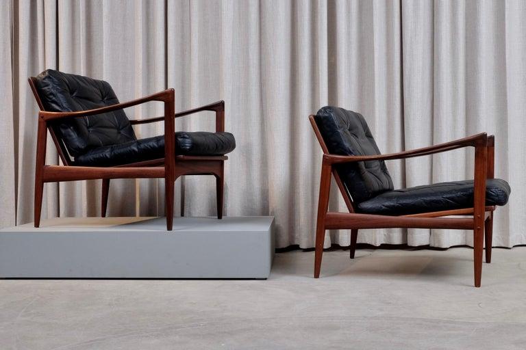 Leather Ib Kofod-Larsen Pair of Easy Chairs Model Kandidaten, 1960s