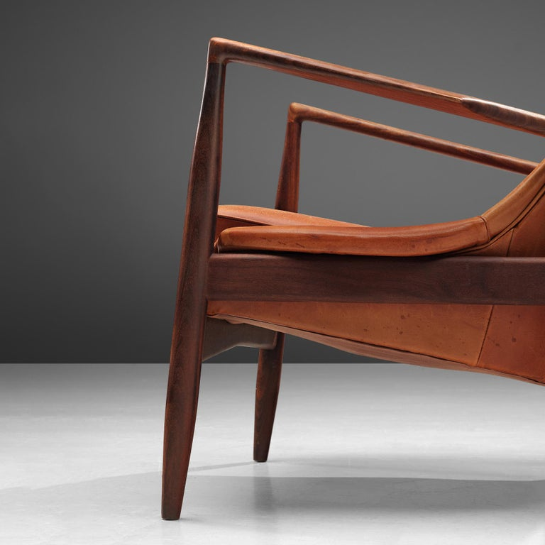 Mid-Century Modern Ib Kofod-Larsen Pair of 'Seal' Chairs in Original Leather For Sale