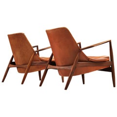 Ib Kofod-Larsen Pair of 'Seal' Chairs in Original Leather