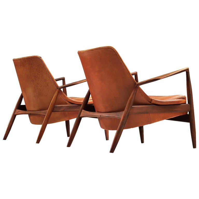 Ib Kofod-Larsen Pair of 'Seal' Chairs in Original Leather For Sale