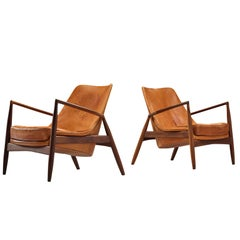 Ib Kofod-Larsen Pair of 'Seal' Chairs in Original Leather
