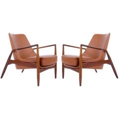 Ib Kofod-Larsen Pair of Seal Lounge Chairs in Teak Cognac Leather, Sweden, 1956