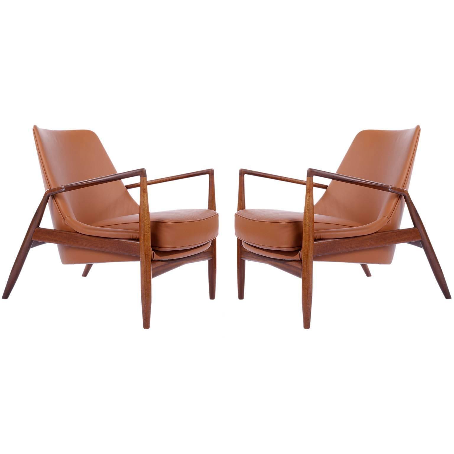 Ib Kofod Larsen Pair Of Seal Lounge Chairs In Teak Cognac Leather, Sweden,