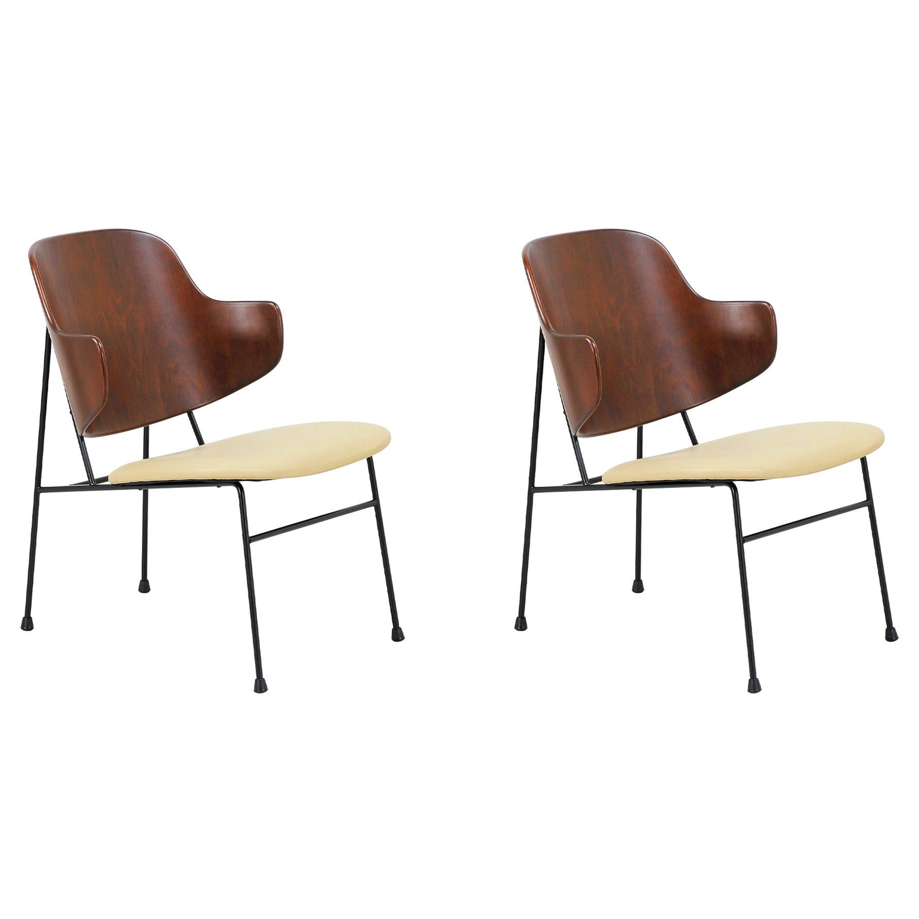 """Ib Kofod-Larsen """"Penguin"""" Iron and Leather Lounge Chairs for Selig"""