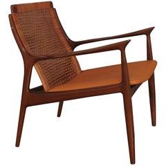 Ib Kofod Larsen Rattan Back Lounge Chair For Selig