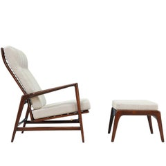 Ib Kofod-Larsen Reclining Lounge Chair with Ottoman for Selig