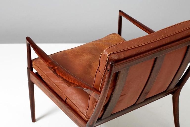 Leather Ib Kofod-Larsen Rosewood Samso Chair, circa 1950s For Sale