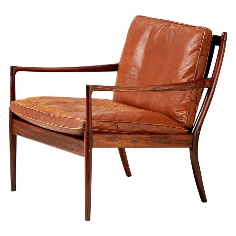 Ib Kofod-Larsen Rosewood Samso Chair, circa 1950s For Sale