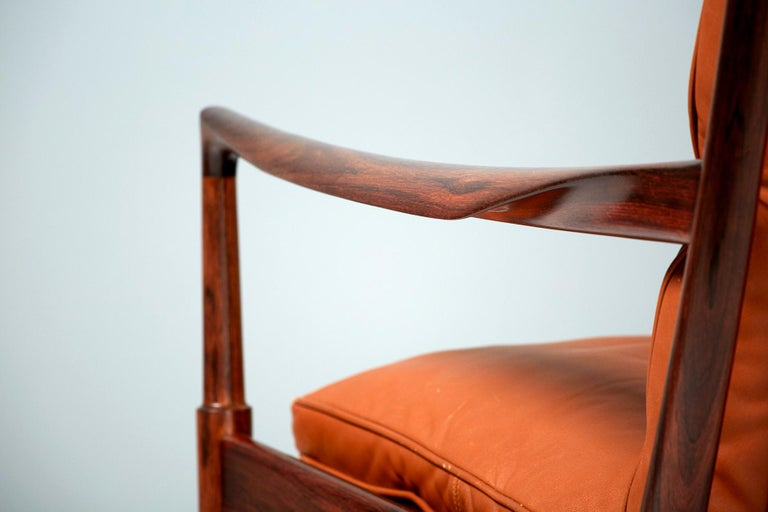 Swedish Ib Kofod-Larsen Rosewood Samso Chairs, circa 1960 For Sale