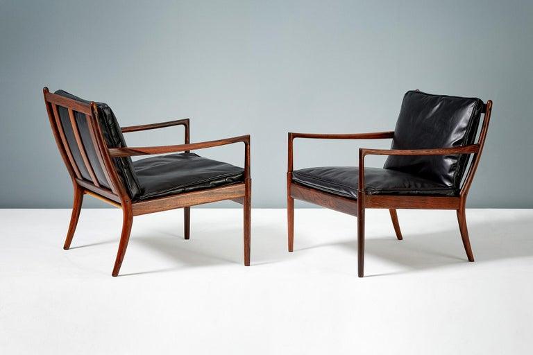 Leather Ib Kofod-Larsen Rosewood Samso Chairs, circa 1960 For Sale