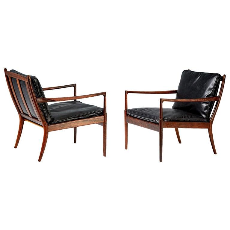 Ib Kofod-Larsen Rosewood Samso Chairs, circa 1960 For Sale