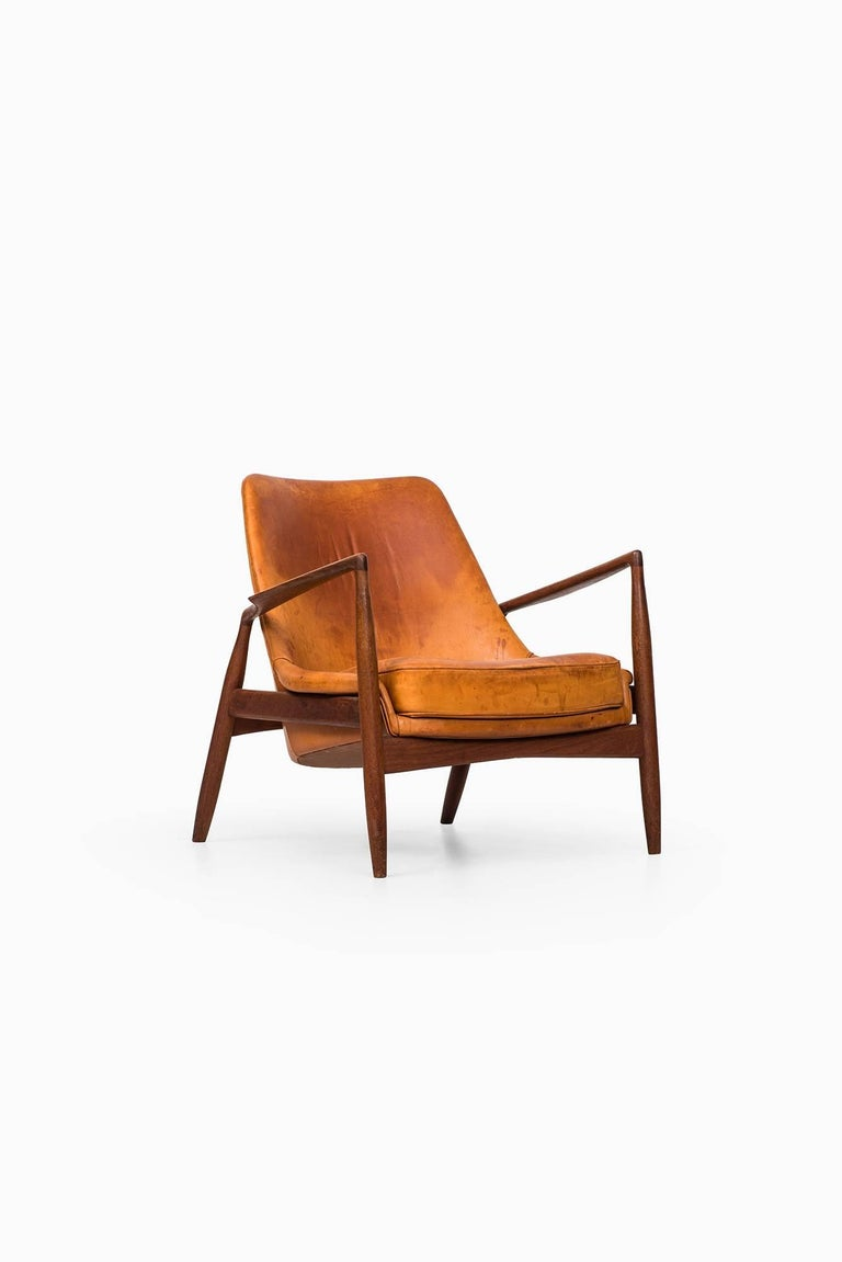 Leather Ib Kofod-Larsen Seal Easy Chair by OPE in Sweden For Sale