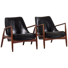 Ib Kofod-Larsen Seal Easy Chairs Produced by Ope in Sweden