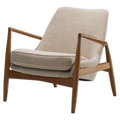 Ib Kofod-Larsen Seal Lounge Chair in Light Linen Blend Fabric, Sweden, 1950s