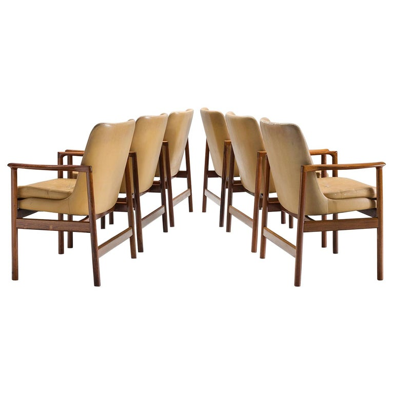 Ib Kofod-Larsen Set of Six Armchairs in Rosewood and Natural Leather For Sale
