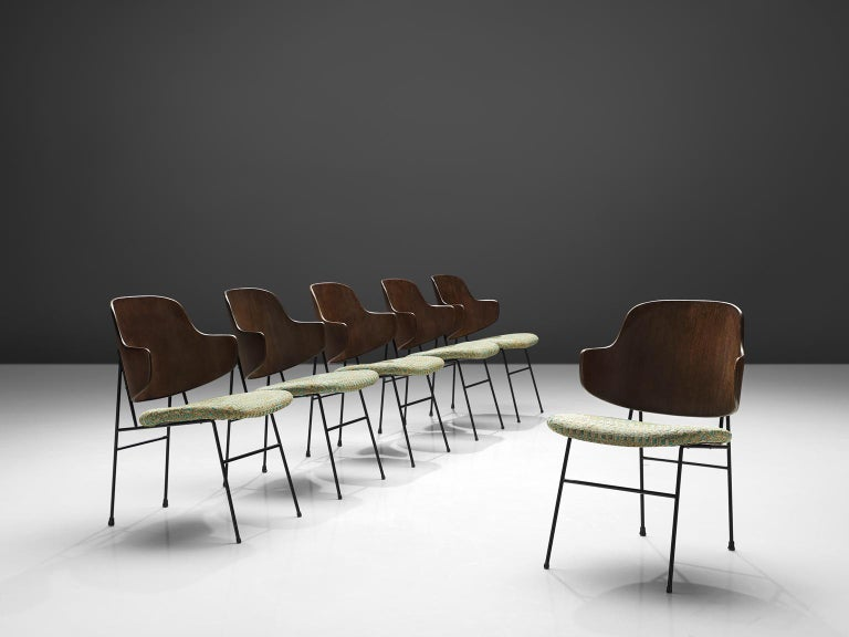 Ib Kofod-Larsen, six 'Penguin' chairs, walnut, steel, metal, Denmark, design 1953, production 1960s.  This is a set of six 'Penguin' chairs by Ib Kofod-Larsen, but they come from a set of 36 that is available in total. The chair was first taken