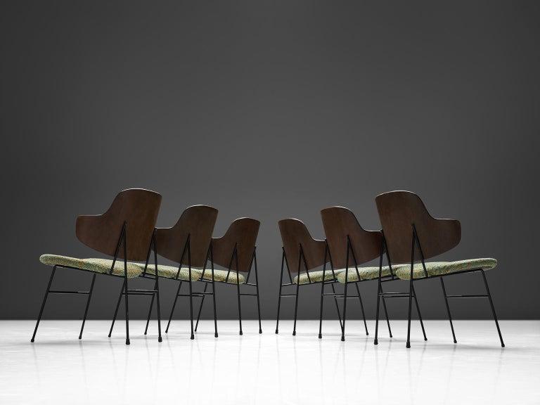 Scandinavian Modern Ib Kofod-Larsen Six Penguin Dining Chairs