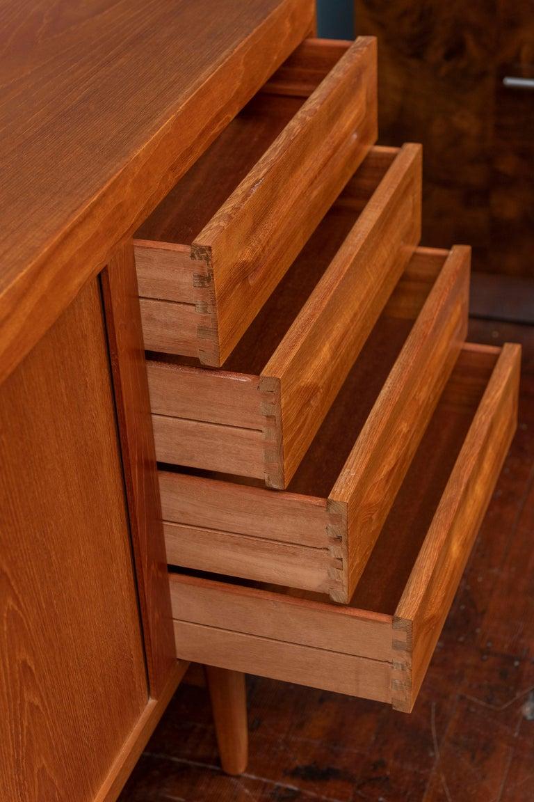 Ib Kofod-Larsen Tambour Door Teak Credenza In Good Condition For Sale In San Francisco, CA